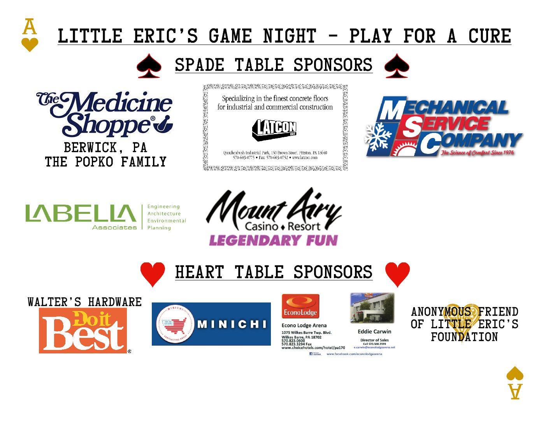500 Spade & 300 Heart Sponsor Board 2017